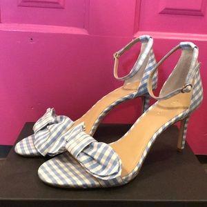 NWOB Ann Taylor blue/white gingham heels size 8